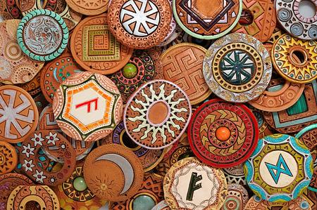 Handmade Ethnic Clay Beaded Jewelry Handmade jewelry background. photo Image Stock Photo