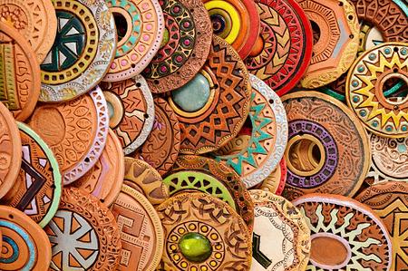 Handmade Ethnic Clay Beaded Jewelry Handmade jewelry background. photo Image Standard-Bild