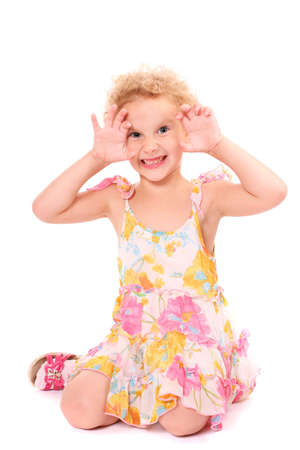 a crazy girl over white background Stock Photo - 3490619