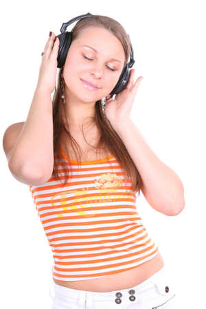 woman is listening to the music over white background photo