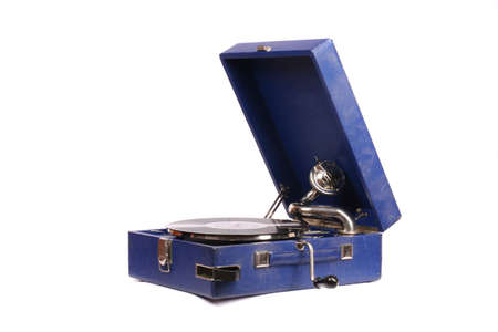 Old gramophone over white background photo