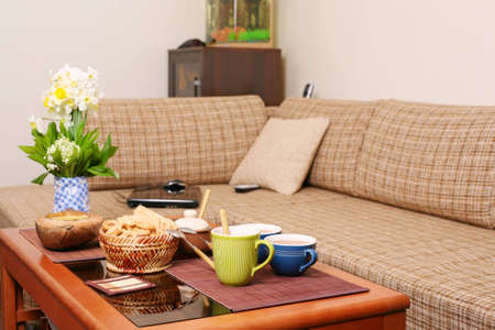 Salontafel Design On Stock.Russian Snack On The Coffee Table In The Living Room Stock Photo