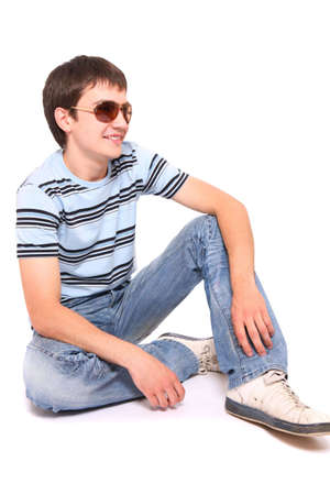 Portrait of a handsome man in sunglasses over white background Stock Photo - 6163186