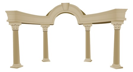 columnas romanas: Un vectorizados 3D arco griego y columnas, un mont�n de detalles