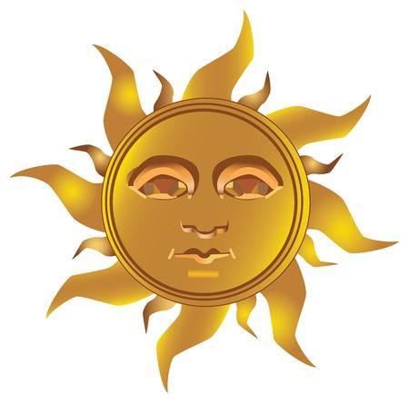 마야 - 완전히 벡터화 된 황금빛 태양의 잉카 타입 일러스트