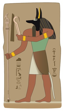 Anubis invented embalming to embalm Osiris, the first mummy. He was the guide of the dead.   Иллюстрация