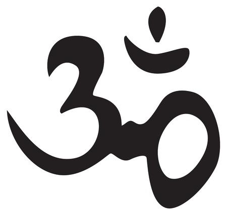 Eeuwige hindoe symbool OM. Sign, symbool, voor tatoeage of illustraties, vector.