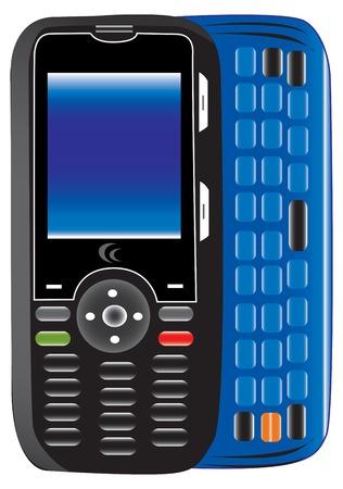 mobiele telefoon met toetsenbord, volledig gevectoriseerde met veel details Stock Illustratie