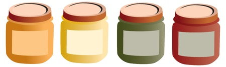 Baby pots, food. Mashed food for baby with label, vectorized Illustration