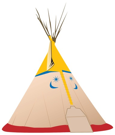 Fully vectorized tipi - native American tent with colored symbols Иллюстрация