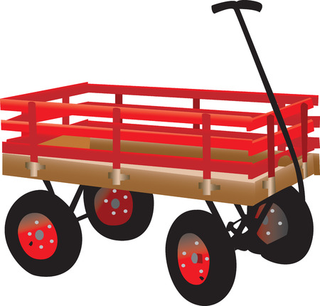 hand truck: Bright red kids hand truck, fully vectorized and scalable   Illustration