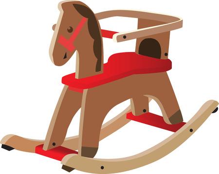 vectorized: Red hab�a pintado el caballo de madera. Juguete los ni�os van, totalmente escalable y vectorizada