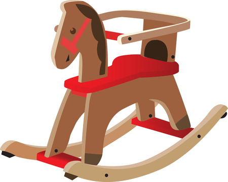 wooden toy: Red painted wooden horse. Kids toy, fully vectorized and scalable