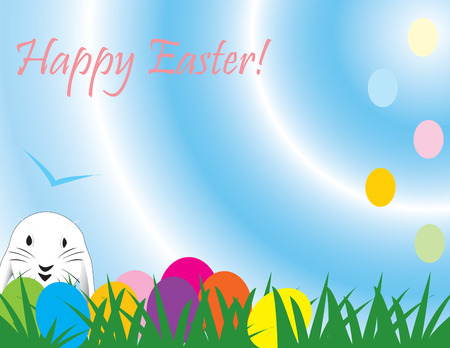 ecard:  Cute Easter rabbit, great for a quick card, paper background or E-Card, fully vectorized, can be easily modified