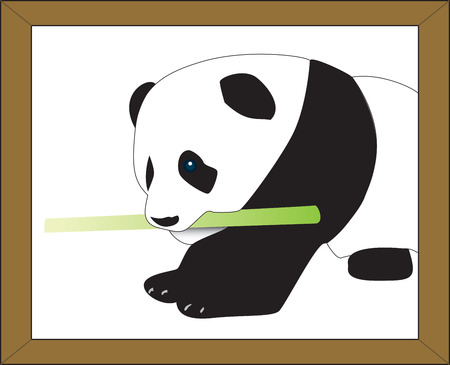 Panda holding a bamboo stick on white, fully vectorized.