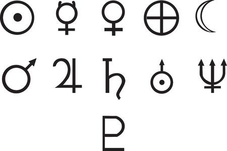 Symbole aller Planeten. Ideal für Grafik oder eine Tätowierung, voll vektorisiert. Von links nach rechts, Sonne Merkur Venus Erde Mond Mars Jupiter Saturn Uranus Neptun Pluto