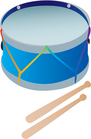 drumsticks: A toy drum with drumsticks   Illustration