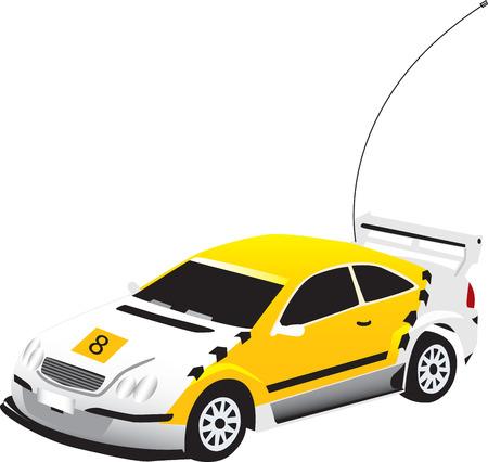 vectorized: Un coche de juguete amarillo vectorizados Vectores