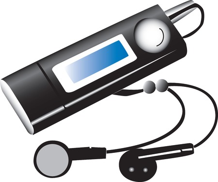 electronic music: An illustration of an electronic music player similar to the popular Ipod.