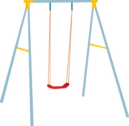 swing: Children swing set, outdoor playground, fully vectorized