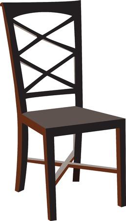 vectorized: Silla de madera vectorizada, aislado contra un fondo blanco.