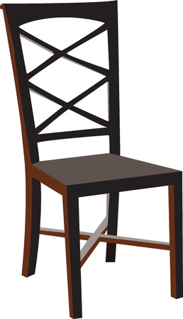 Vectorized wooden chair, isolated against a white background.