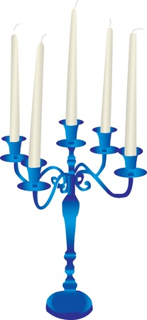 candle holder: Vector illustration of a blue candelabra with white tapered candles, isolated on a white background.