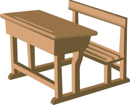 Illustratie van een bruine school net houten bureau met gekoppelde stoel.  Stock Illustratie