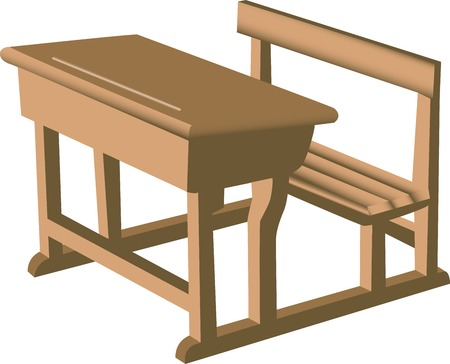 desk: Illustration of a brown school like wooden desk with attached chair.
