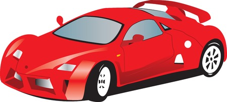 racing wings: Illustration of a toy red sports car.  Isolated against a white background.