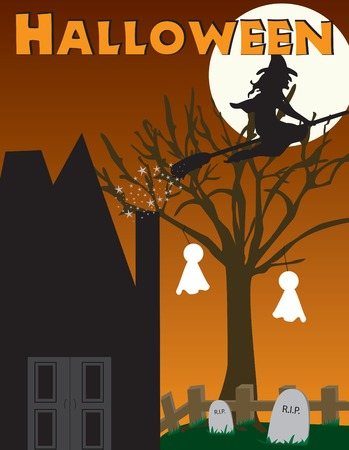 Halloween witch and haunted house scene Vector