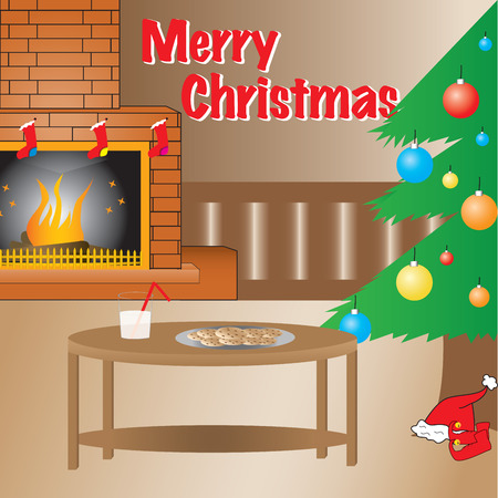 Warn Christmas setup, full vector. Christmas tree and fireplace, Christmas interior