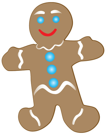 Christmas gingerbread cookie, smiling and joyful, with colorful beads and decoration.
