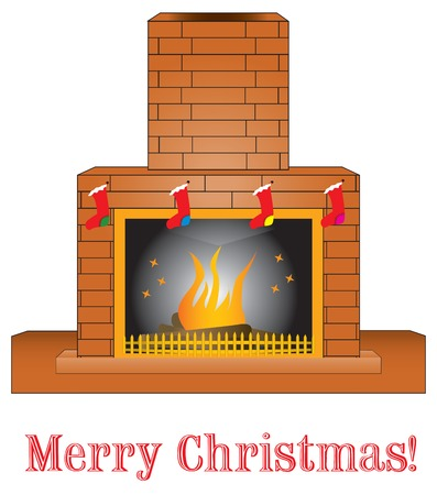 Merry Christmas! Brick fireplace giving a warm presence, with Christmas Stocking. Illustration