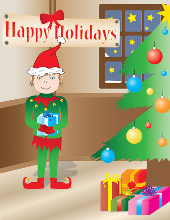 interior decoration: Christmas Elf in a holidays interior. Christmas tree, starlight in the windows and gifts!
