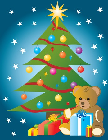 ambience: Styled Christmas tree, with a starlight background, teddy bear and gifts. Full vector.