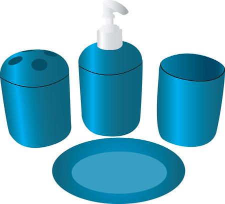 An illustration of bathroom accessories in blue. Çizim