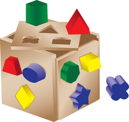 An illustration of a wooden shape sorter toy.