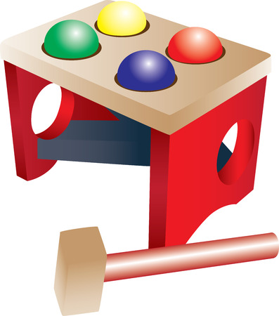 A wooden kid toy with colorful balls and a hammer. 向量圖像