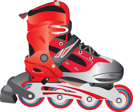 roller blade:  red plastic and fabric sport roller blade, isolated against a white background.  Illustration