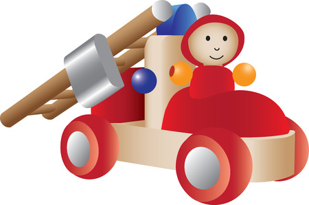 An illustration of a firetruck toy.  Vector