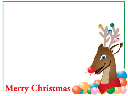 Merry Christmas reindeer card Stock Vector - 10480818