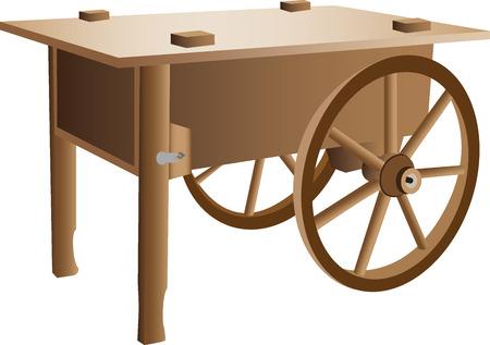 handcart: Wooden handcart illustration