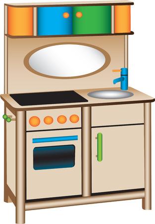 lavabo: Cocina de juguete  Vectores