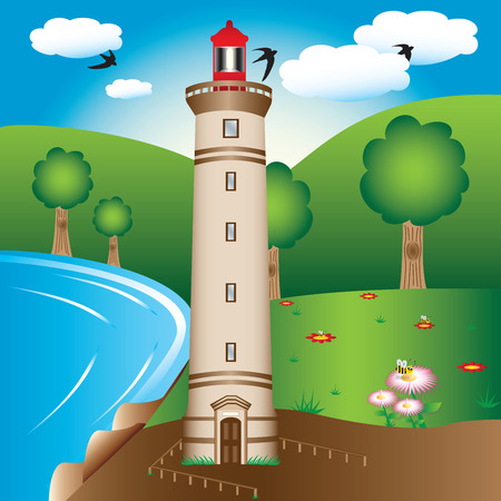 A lighthouse tower illustration near the water.  Ilustração