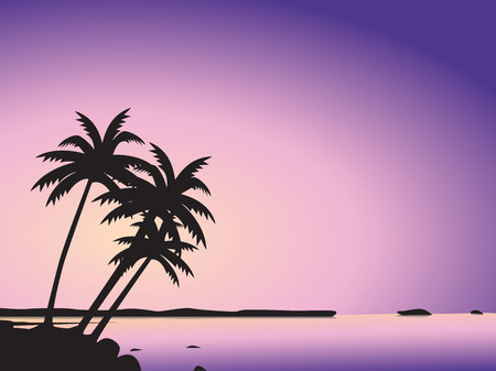 silhouetted: Tropical palm trees and sea Illustration