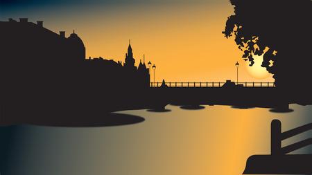 waterway: Bridge silhouette in sunset
