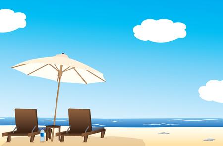 Idílica playa  Ilustración de vector