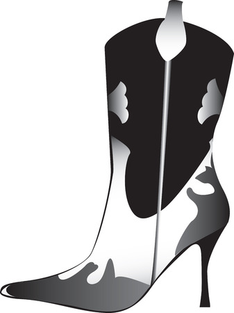 Side view illustration of decorative high heeled womans boot, isolated on white background.