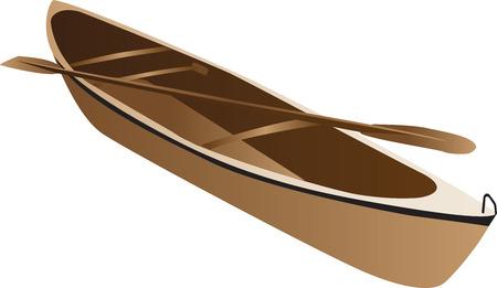 Drie dimensionale illustratie van houten kano en paddle, geïsoleerd op een witte achtergrond.